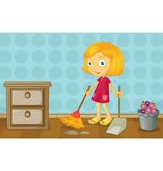 A girl cleaning a room vector image vector image