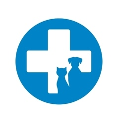 blue veterinary icon with pets vector image vector image