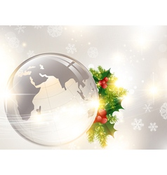 christmas holiday background with world globe vector image vector image