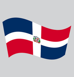 dominican republic flag waving on gray background vector image vector image