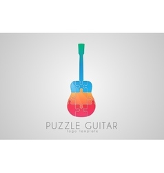 Guitar logo Puzzle guitar logo design Creative vector image vector image