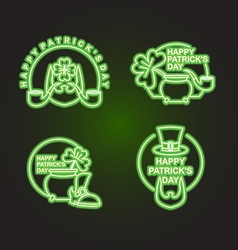 Happy Patricks day Happy set of emblems Neon sign vector image vector image