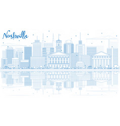 outline nashville skyline with blue buildings and vector image vector image