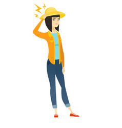 asian farmer with lightning over her head vector image vector image