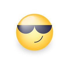 cartoon emoticon wearing black sunglasses happy vector image