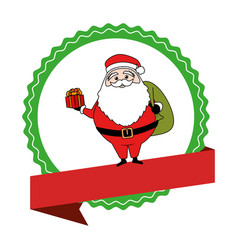 circular emblem with ribbon and santa claus with vector image