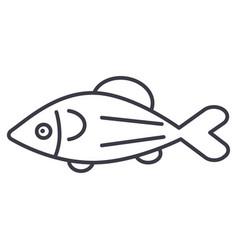 fish salmon line icon sign vector image