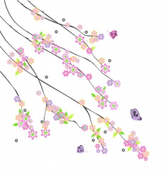abstract branches with flowers vector image