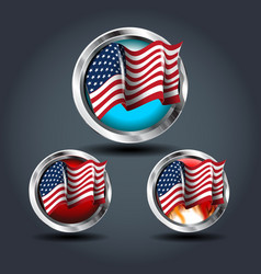 american flag set steely rounded badge icon for vector image