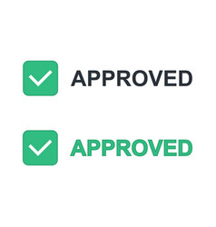 approved inscription with check mark icon vector image