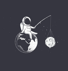 Astronaut holds moon with a stick vector