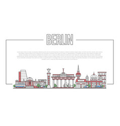 berlin landmark panorama in linear style vector image