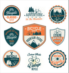 Bicycle retro vintage badge and shield collection vector
