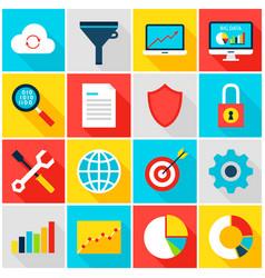 Big data analytics colorful icons vector