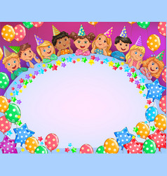 birthday bright frame cute kids vector image
