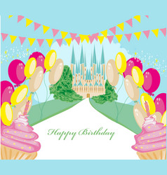 Birthday card with muffins and castle vector