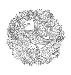 black and white bird with flowers vector image