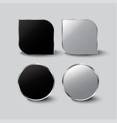 black and white buttons glass vector image
