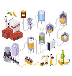 Brewery beer production set vector