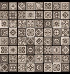 Brown portuguese ceramic mosaic tile floral vector