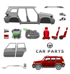 Car service parts flat auto mechanic repair of vector