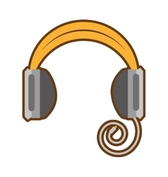 Cartoon headphones music listing audio vector