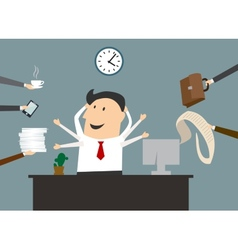 Cartoon multitasking businessman on workplace vector image