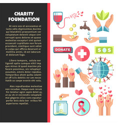 Charity foundation promo poster with sample text vector
