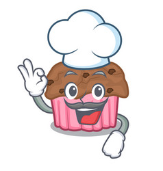 chef cartoon chocolate muffins ready to eat vector image