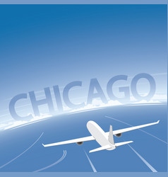Chicago skyline flight destination vector