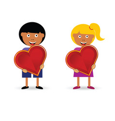 Children holding heart vector