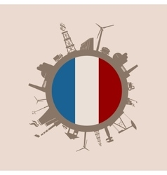 Circle with industrial silhouettes France flag vector