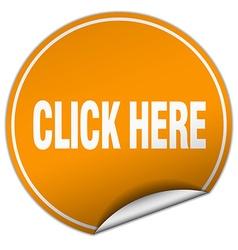 Click here round orange sticker isolated on white vector