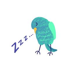 Colorful cute sleeping bird vector