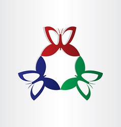Colorfull butterflies fly in circle shape vector