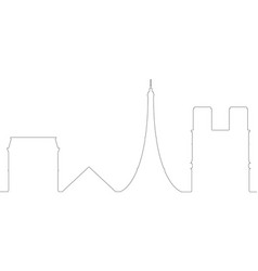 continous line skyline of paris vector image