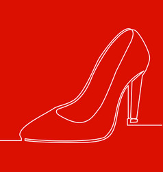 continuous one line lady high heel shoe icon vector image