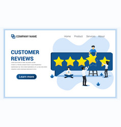 Customer reviews concept with people giving five vector