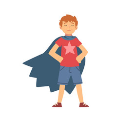 Cute brave boy character in blue cape vector