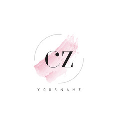 Cz c z watercolor letter logo design with vector