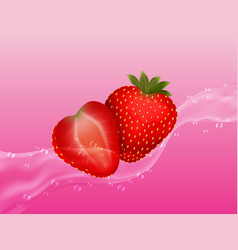 delicious juicy strawberry in spray of juice vector image