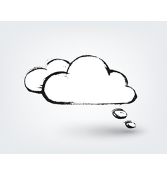 design element Hand drawn cloud on white vector image