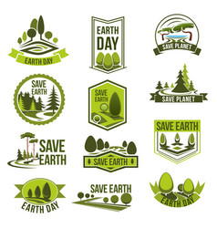 Earth day save planet eco badge set vector