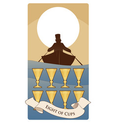 Eight cups tarot cards boat silhouette on the vector