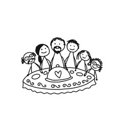 Family together have a dinner sketch for your vector
