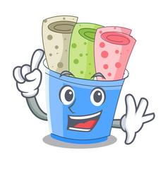 Finger ice cream roll small depth mascot vector