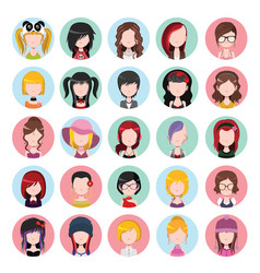 flat colored women icons vector image