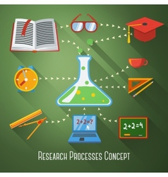 Flat concept of research education processes With vector