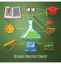 Flat concept research education processes vector