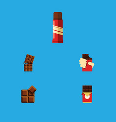 flat icon cacao set of chocolate bar cocoa sweet vector image